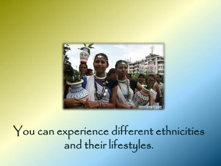 You can experience different ethnicities and their lifestyles.