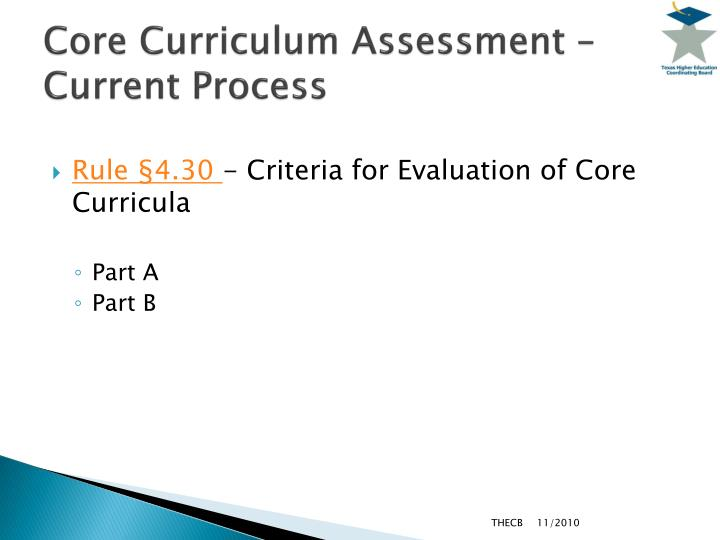 Core Curriculum Assessment – Current Process