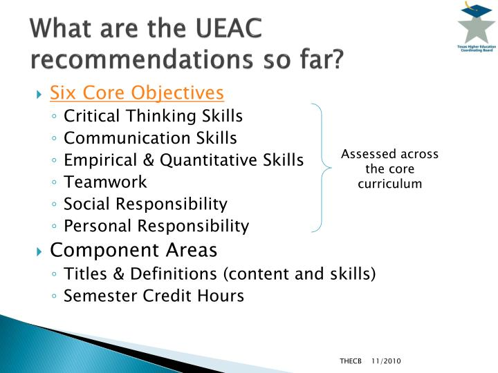 What are the ueac recommendations so far