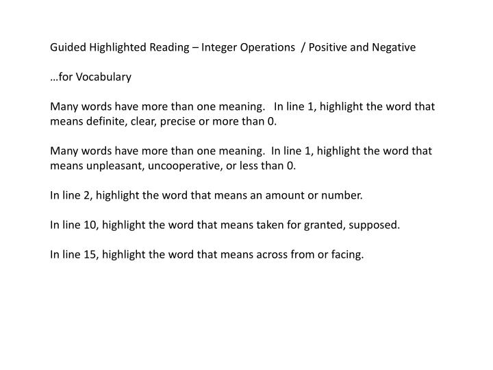 Guided Highlighted Reading – Integer Operations  / Positive and Negative