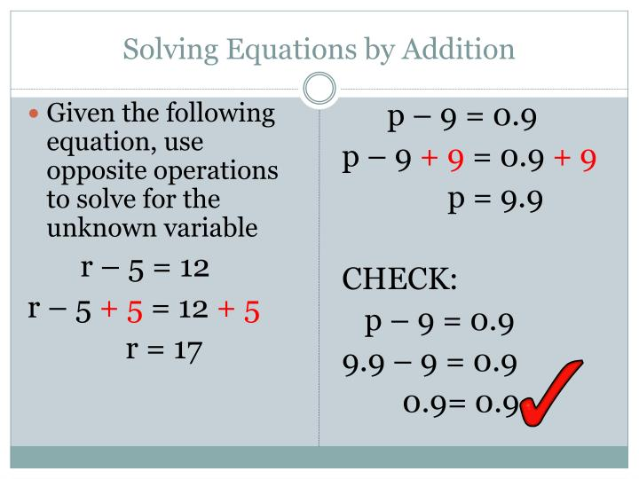 Solving Equations by Addition
