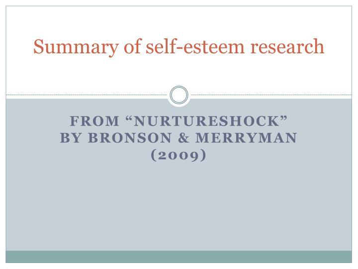 Summary of self-esteem research