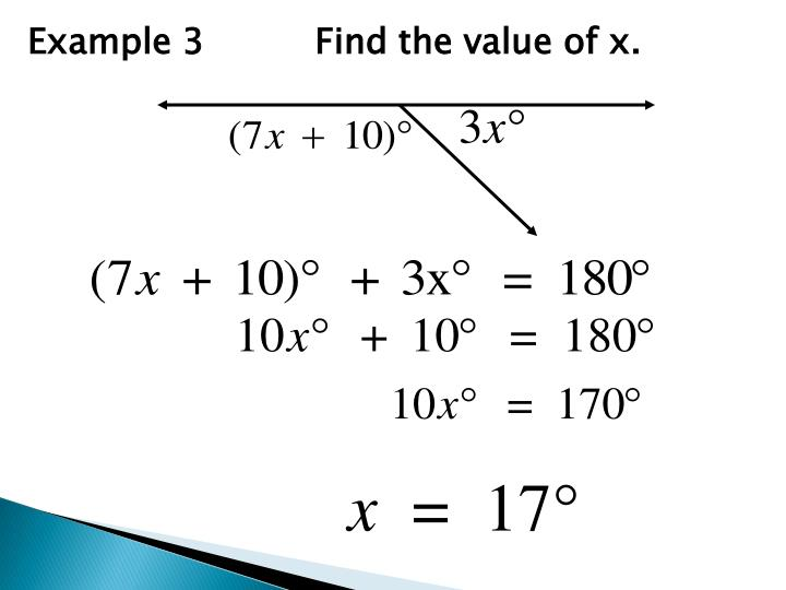 Example 3          Find the value of x.