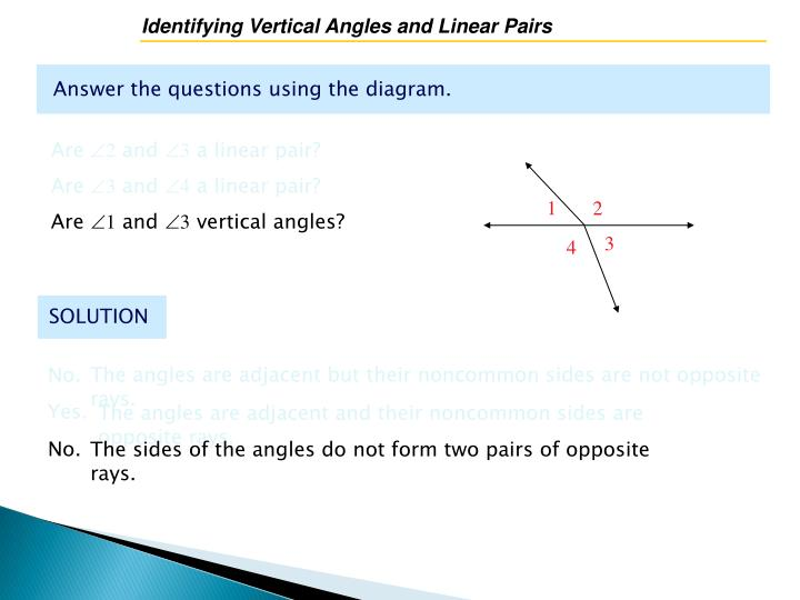 Identifying Vertical Angles and Linear Pairs