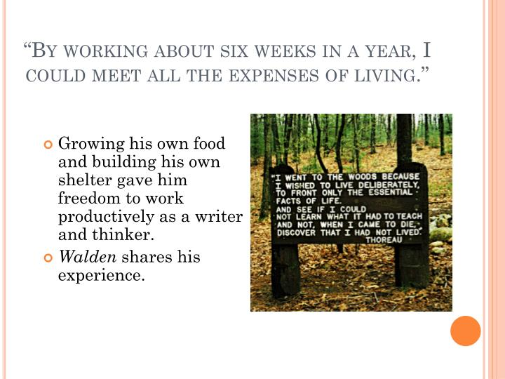 """By working about six weeks in a year, I could meet all the expenses of living."""