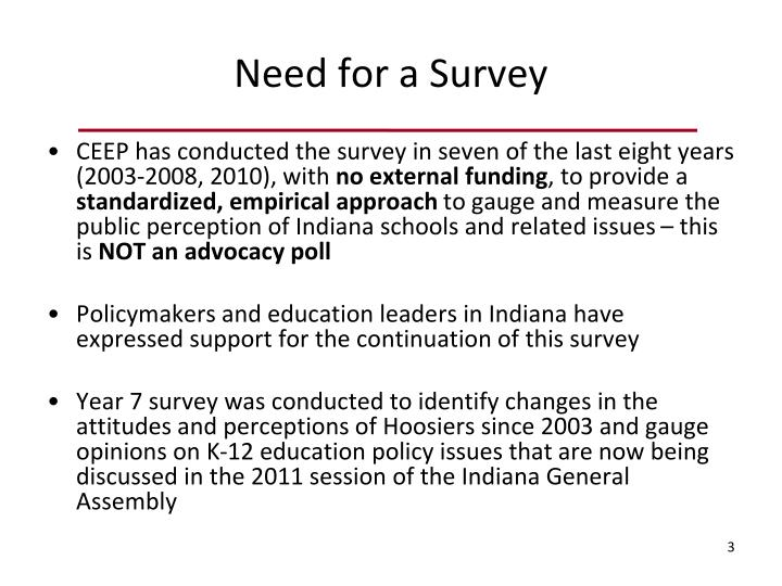 Need for a Survey