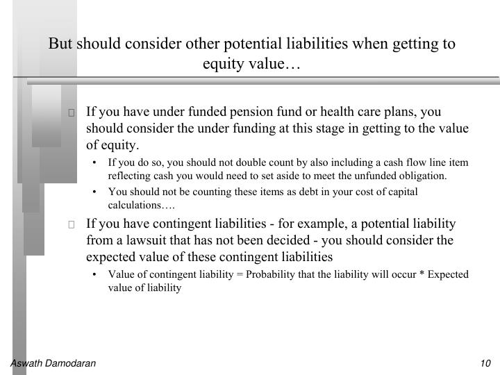 But should consider other potential liabilities when getting to equity value…