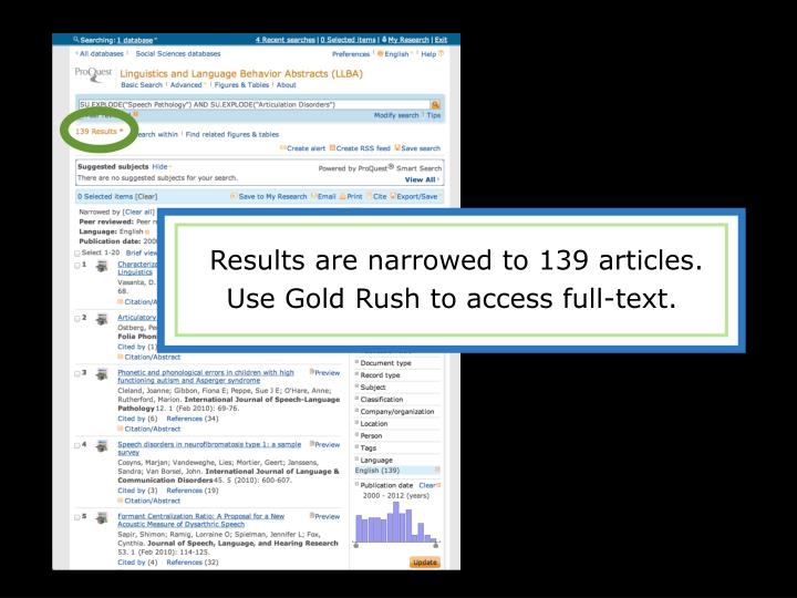 Results are narrowed to 139 articles.