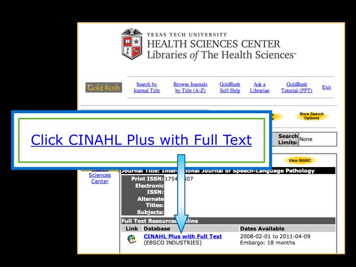 Click CINAHL Plus with Full Text