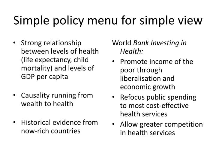 Simple policy menu for simple view