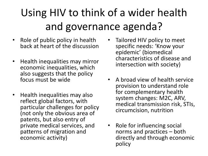 Using HIV to think of a wider health and governance agenda?