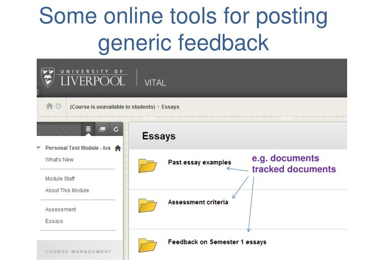 Some online tools for posting generic feedback