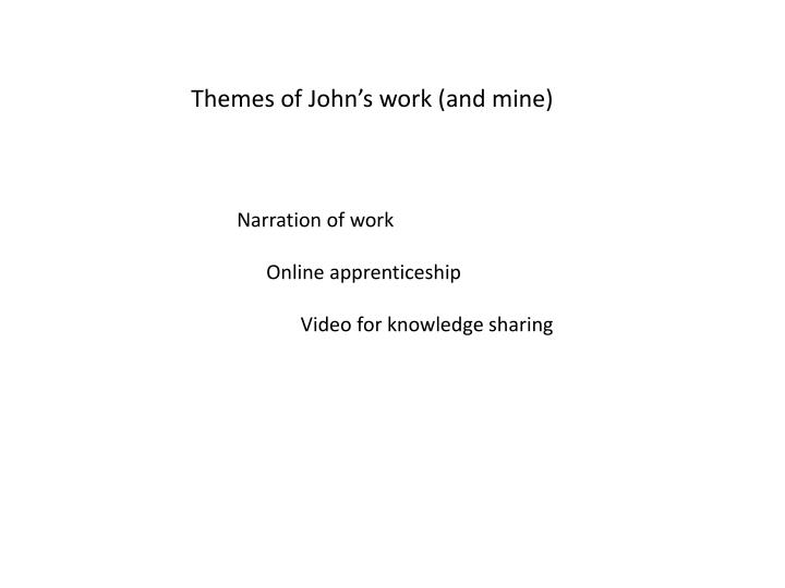 Themes of John's work (and mine)