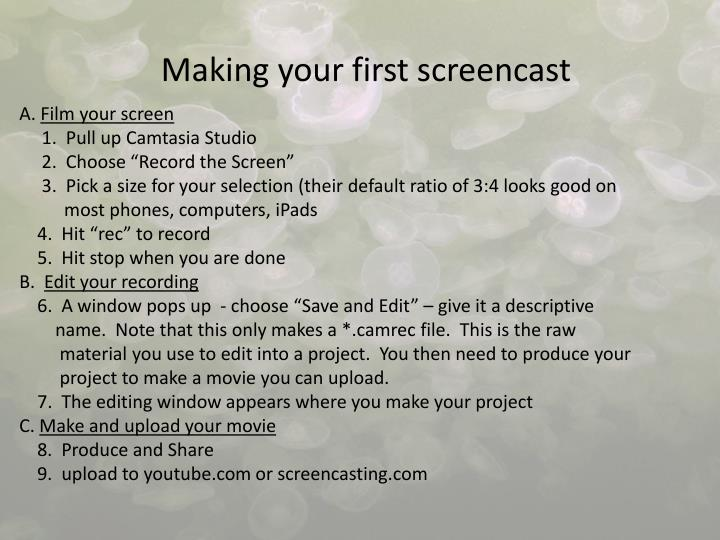 Making your first screencast