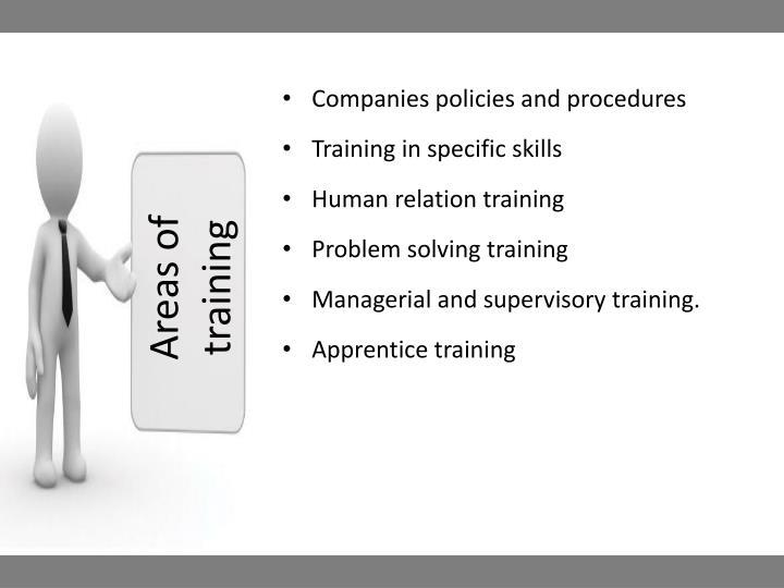 Areas of training