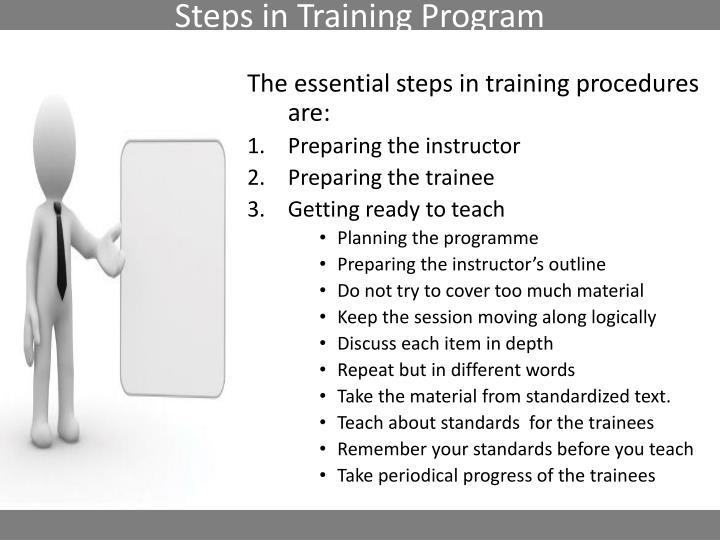 Steps in Training Program