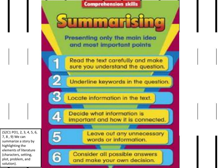 (S2C1 PO1, 2, 3, 4, 5, 6, 7, 8 , 9) We can summarize a story by highlighting the elements of literature (characters, setting, plot, problem, and solution).