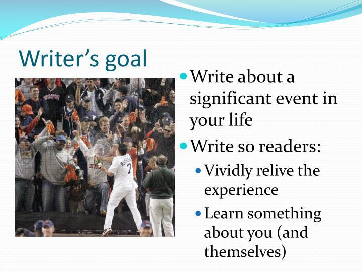 Writer's goal