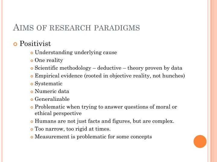 Aims of research paradigms