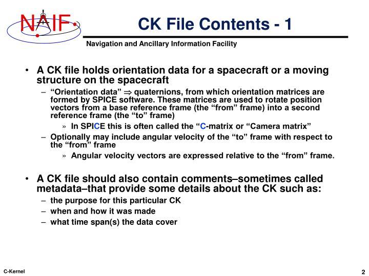 CK File Contents - 1
