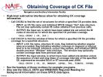 obtaining coverage of ck file
