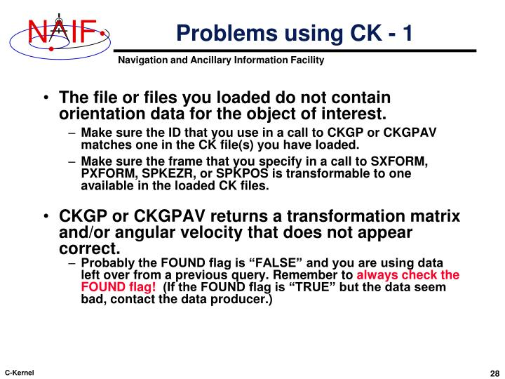 Problems using CK - 1