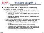 problems using ck 5