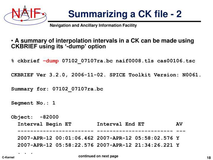 Summarizing a CK file - 2
