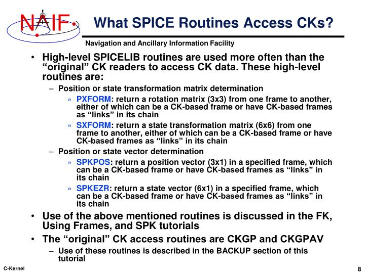 What SPICE Routines Access CKs?