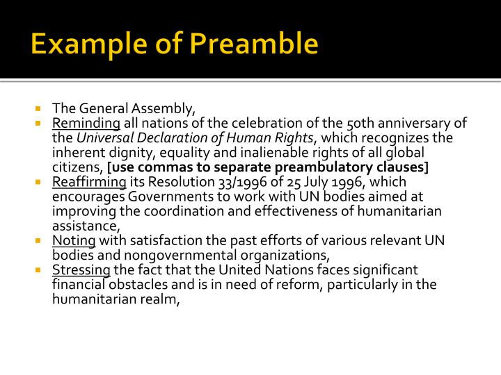 Example of Preamble