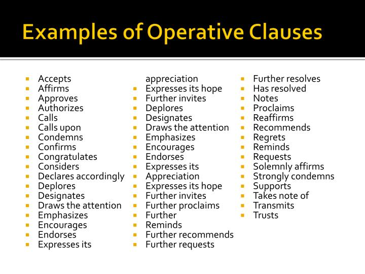 Examples of Operative Clauses
