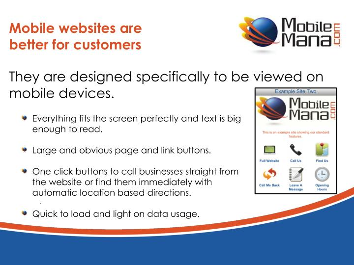 Mobile websites are