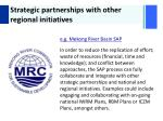 strategic partnerships with other regional initiatives