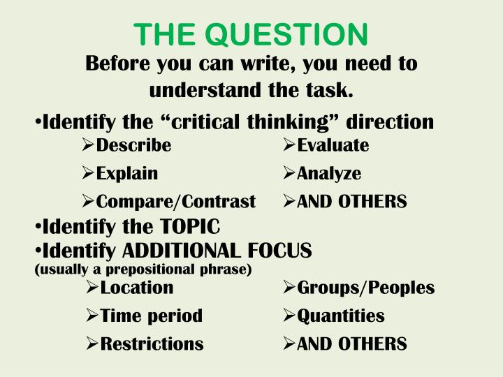 """Identify the """"critical thinking"""" direction"""