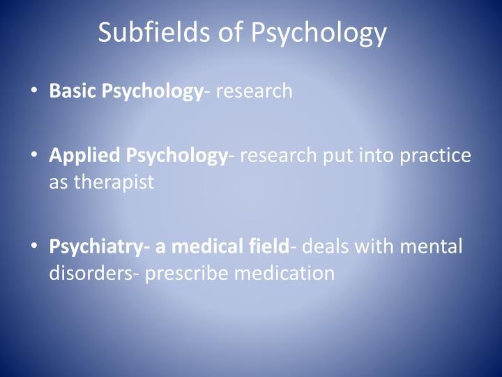Subfields of Psychology