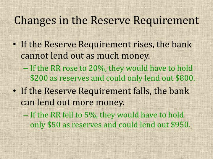 Changes in the Reserve Requirement