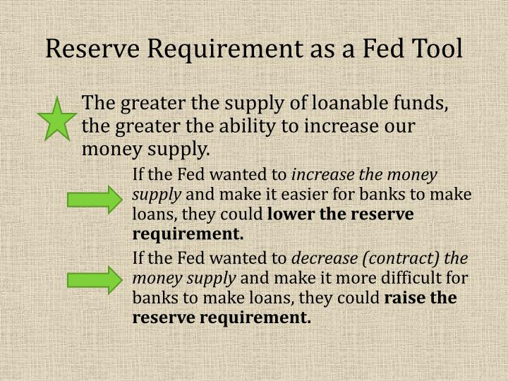 Reserve Requirement as a Fed Tool