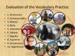 evaluation of the vocabulary practice