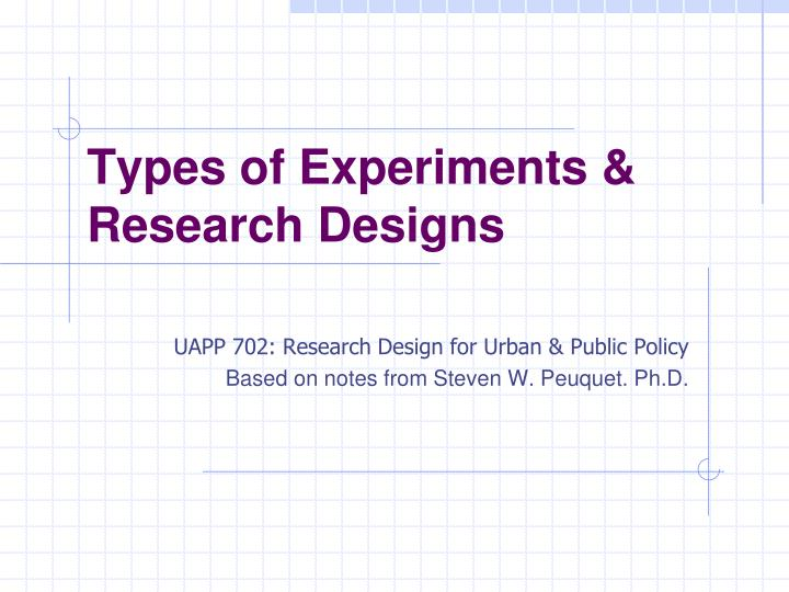 Types of experiments research designs