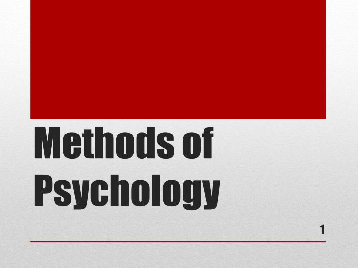 methods of psychology