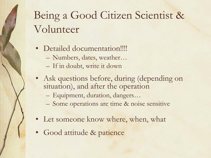 Being a Good Citizen Scientist & Volunteer