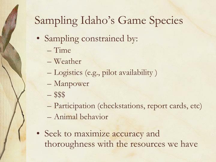Sampling Idaho's Game Species