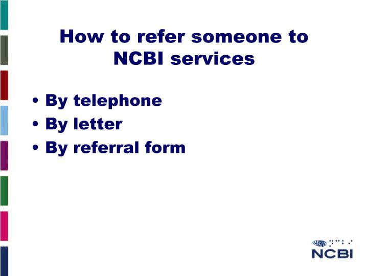 How to refer someone to NCBI services