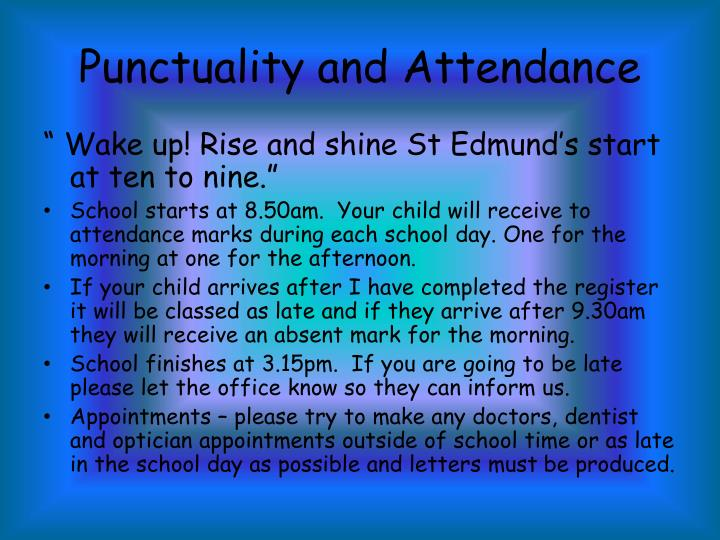 Punctuality and Attendance