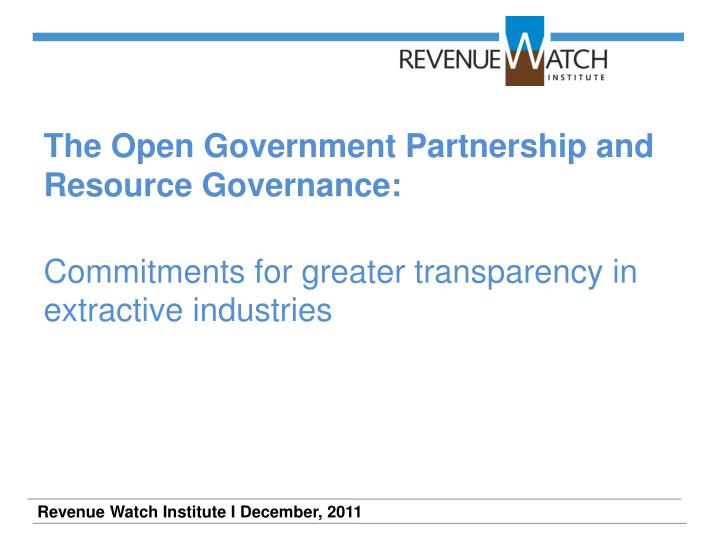 The Open Government Partnership and Resource Governance: