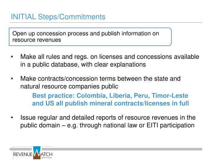 Open up concession process and publish information on resource revenues