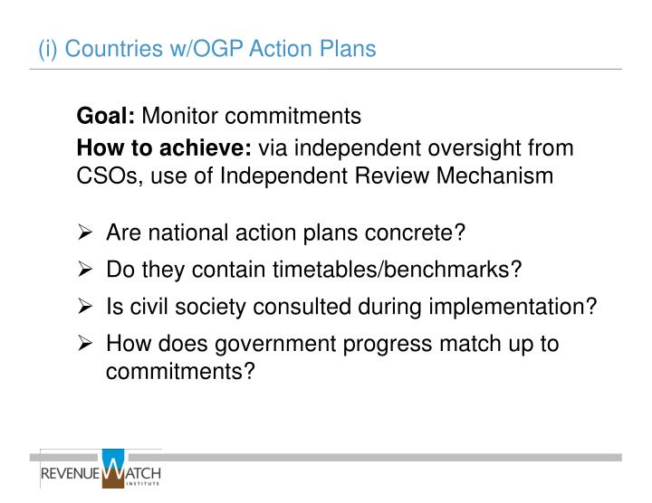(i) Countries w/OGP Action Plans