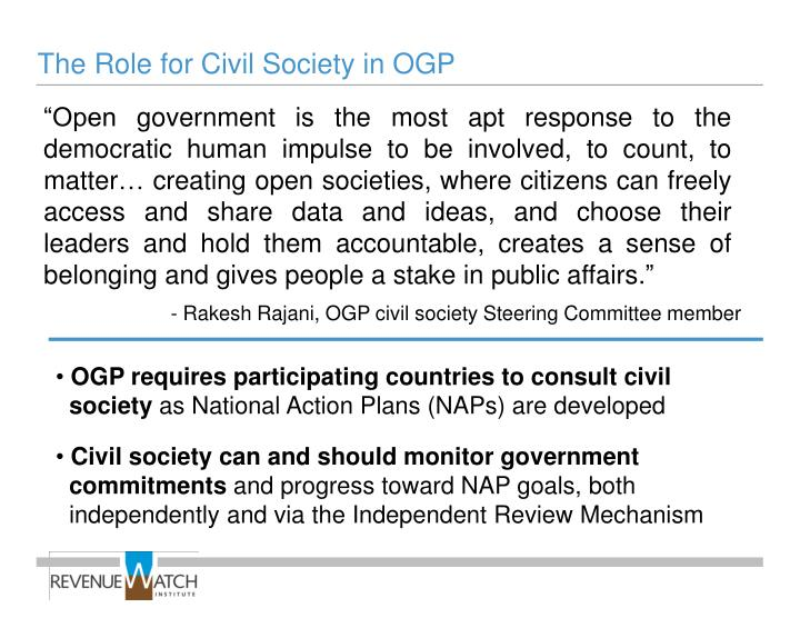 The Role for Civil Society in OGP