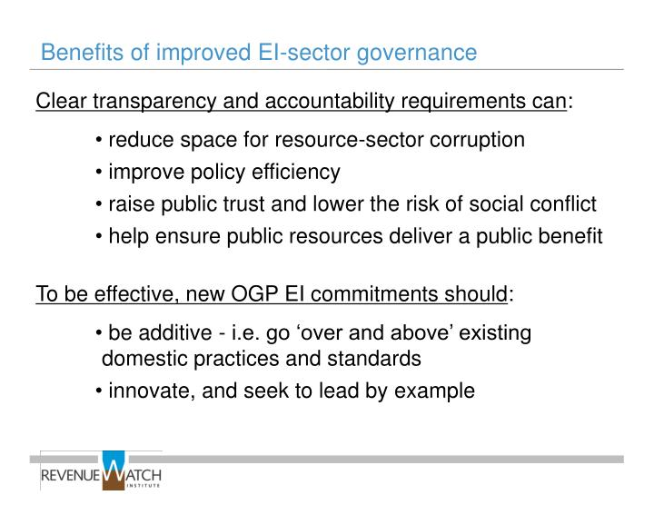 Benefits of improved EI-sector governance