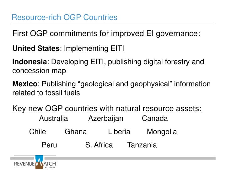 Resource-rich OGP Countries